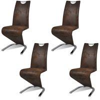 vidaXL spisebordsstole 4 stk. kunstlæder brun