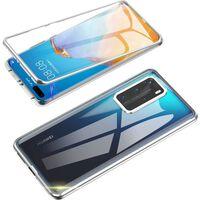 Dobbeltsidet Mobilcover Med Hærdet Glas - Huawei P40 - Sølv