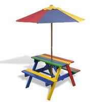 vidaXL bord- og bænkesæt til børn med parasol træ flerfarvet