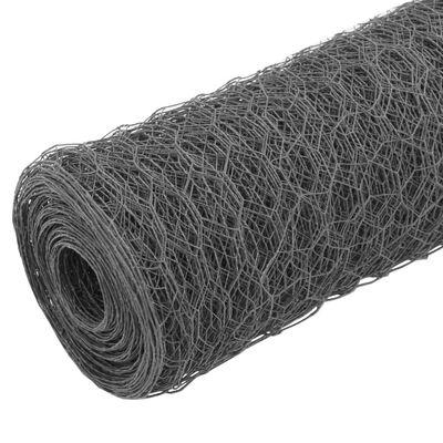 vidaXL hønsenet stål med PVC-belægning 25 x 1,2 m grå