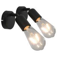 vidaXL spotlamper 2 stk. E27 sort