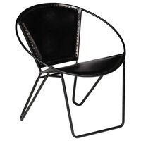 vidaXL stol ægte læder sort