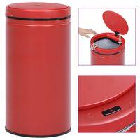 vidaXL affaldsspand med sensor 60 l kulstofstål rød