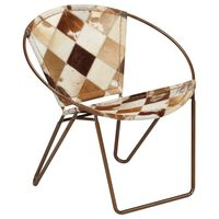 vidaXL stol med diamantmønster ægte læder brun