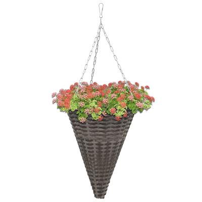 vidaXL hængende blomsterkurve 2 stk. polyrattan grå