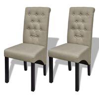 vidaXL spisebordsstole 2 stk. stof beige