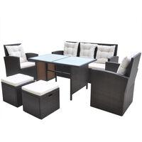 vidaXL udendørs spisebordssæt 6 dele med hynder polyrattan brun