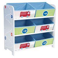 Worlds Apart reol til opbevaring med kasser lastbiler og traktorer 60x30x63 cm WORL230008