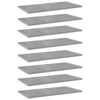 vidaXL boghylder 8 stk. 60x30x1,5 cm spånplade betongrå