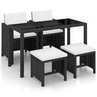 vidaXL udendørs spisebordssæt 5 dele med hynder polyrattan sort
