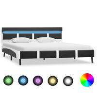 vidaXL sengestel med LED 160 x 200 cm kunstlæder grå