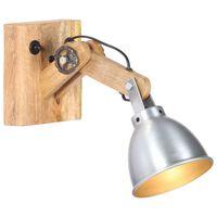 vidaXL væglampe E27 massivt mangotræ og jern sølvfarvet
