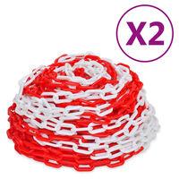 vidaXL advarselskæde 2 stk. 30 m plastik rød og hvid
