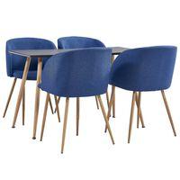 vidaXL spisebordssæt 5 dele stof blå