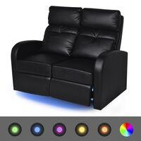 vidaXL 2-sæders lænestol med LED i kunstlæder sort