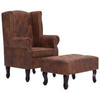 vidaXL lænestol og fodskammel chesterfield imiteret ruskind brun