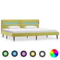 vidaXL sengestel med LED 180x200 cm stof grøn