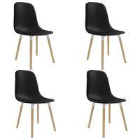 vidaXL spisebordsstole 4 stk. sort plastik