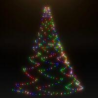 vidaXL LED-juletræ til væg med metalkrog 720 LED'er 5 m flerfarvet