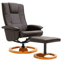 vidaXL drejelig lænestol med fodskammel brun kunstlæder