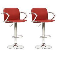 vidaXL barstole 2 stk. kunstlæder vinrød