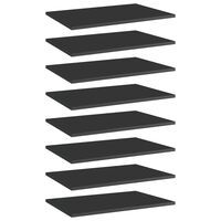 vidaXL boghylder 8 stk. 60x40x1,5 cm spånplade sort højglans