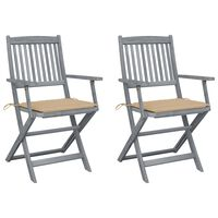 vidaXL foldbare udendørsstole 2 stk. med hynder massivt akacietræ