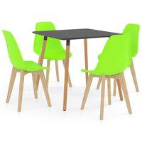 vidaXL spisebordssæt 5 dele grøn