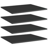 vidaXL boghylder 4 stk. 60x50x1,5 cm spånplade sort højglans