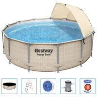 Bestway Power Steel swimmingpoolsæt med baldakin 396x107 cm