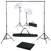vidaXL fotostudieudstyr med baggrund, lamper og paraplyer