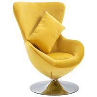 vidaXL drejelig æg-stol med hynde fløjl gul