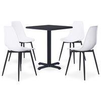 vidaXL udendørs spisebordssæt 5 dele metal og PP hvid