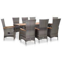 vidaXL udendørs spisebordssæt 9 dele med hynder polyrattan grå