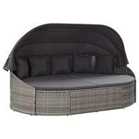 vidaXL udendørs loungeseng med baldakin polyrattan grå