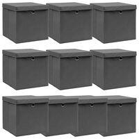 vidaXL opbevaringskasser med låg 10 stk. 32x32x32 stof grå