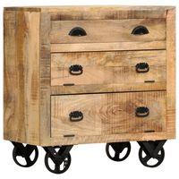 vidaXL sideskab med hjul 70 x 40 x 75 cm massivt mangotræ