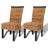 vidaXL spisebordsstole 2 stk. abacá og massivt mangotræ