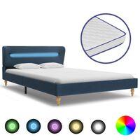 vidaXL seng med LED og madras i memoryskum 120 x 200 cm blå stof