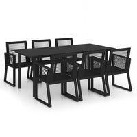 vidaXL udendørs spisebordssæt 7 dele PVC-rattan sort