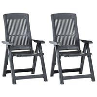 vidaXL havelænestole 2 stk. plastik antracitgrå