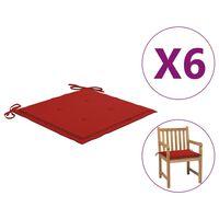 vidaXL hynder til havestole 6 stk. 50x50x4 cm stof rød