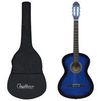 """vidaXL klassisk guitar med taske for begyndere 4/4 39"""" blå"""