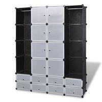 vidaXL modulskab med 18 rum sort og hvid 37 x 146 x 180,5 cm