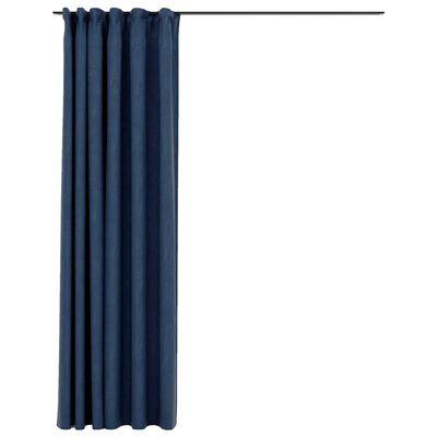 vidaXL mørklægningsgardin med kroge hør-look 290x245 cm blå