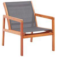 vidaXL loungestol til haven massivt eukalyptustræ textilene grå