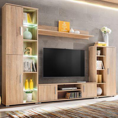 vidaXL TV-møbel med LED-lys sonoma-eg