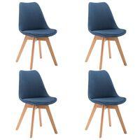 vidaXL spisebordsstole 4 stk. stof blå