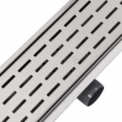 vidaXL Lineært bruseafløb linjedesign 1030x140 mm rustfrit stål