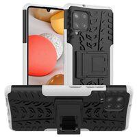 Stødbestandigt Cover Med Stativ Samsung Galaxy A42-hvid